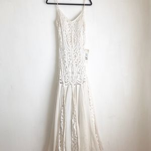 Sue Wong white maxi dress embellished silk sz:8